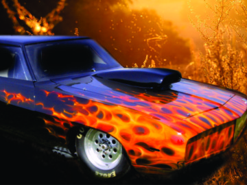 Real fire custom painted car flames