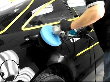 machine polishing a car