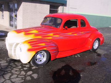 1937  Ford coupe with traditional custom painted flames